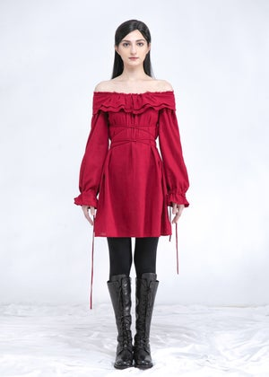 Image of  SAMPLE SALE - Two Way Off Shoulder Ruffle Top In Ruby