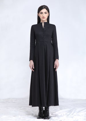 Image of Fitted Linen Shirt Maxi Dress