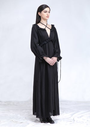 Image of Mona Lace Up Long Dress in Linen