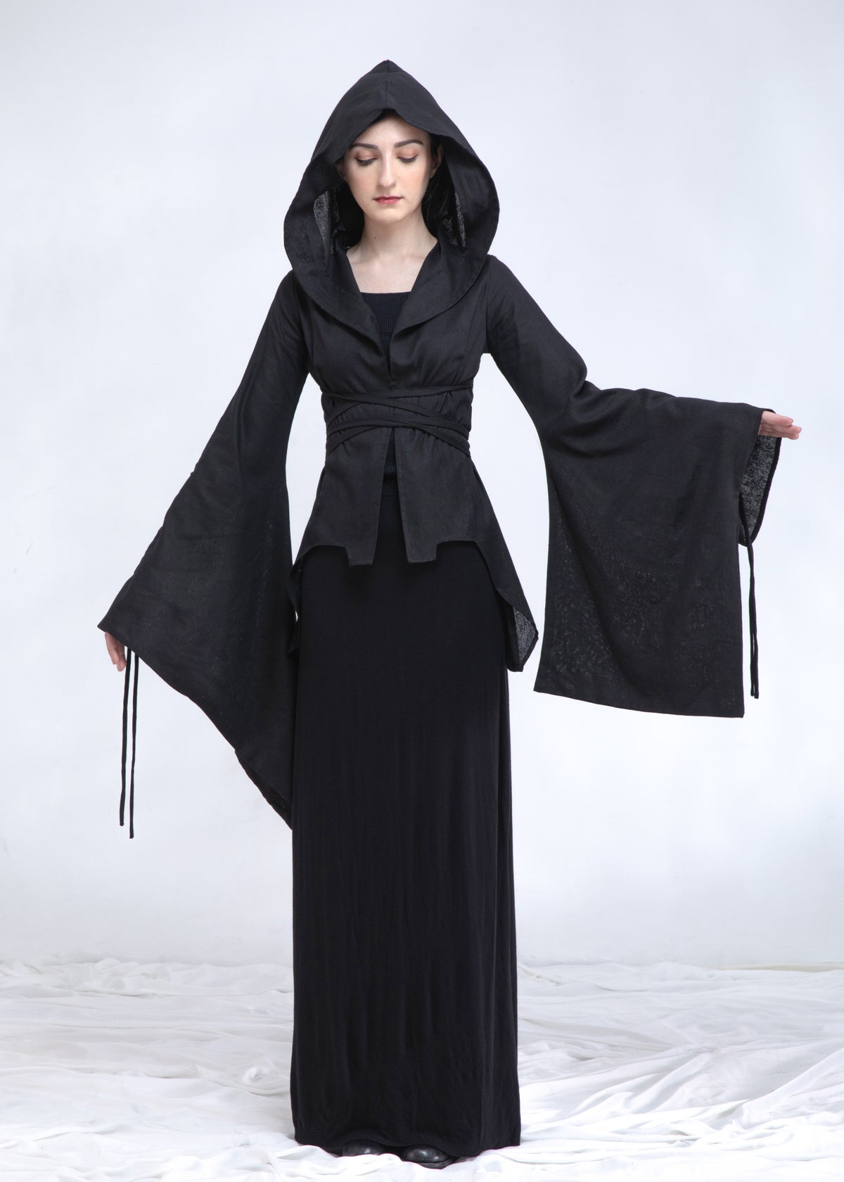 Image of Hooded Tie-detailed Billowing Sleeves Top in Linen