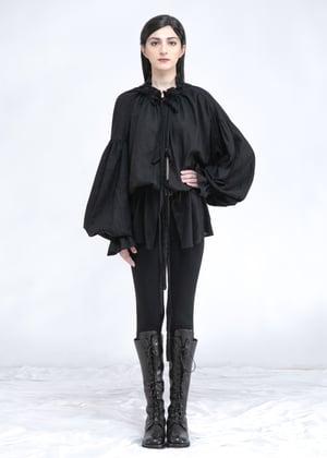 Image of Ruffle Collar Top In Black