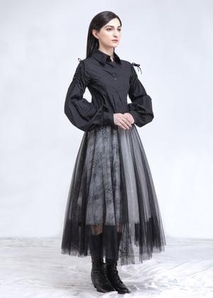 Image of Black & White Layered Tulle Skirt