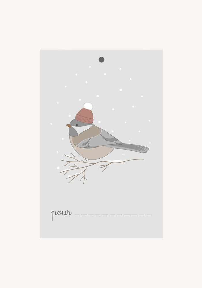 Image of Lot d'étiquette-cadeau Oiseau d'hiver