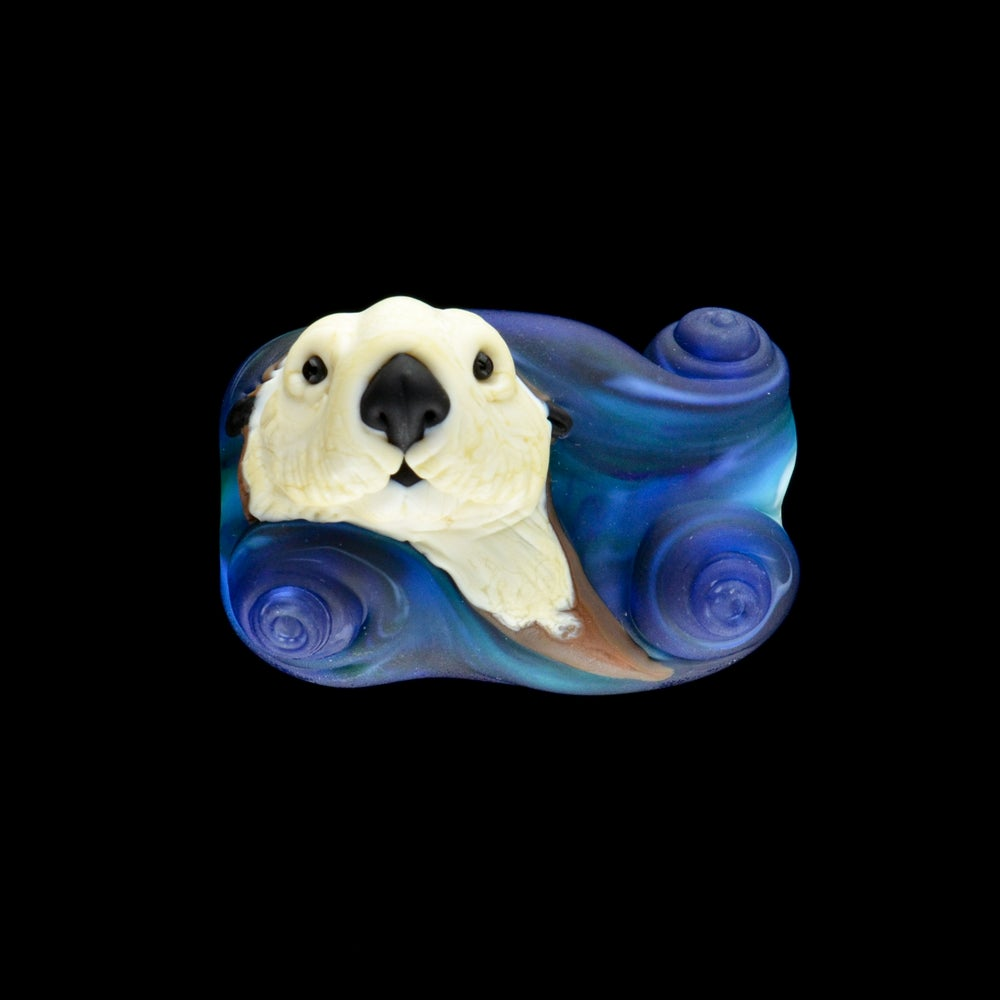Image of XL. Wave Surfing Sea Otter - Flamework Glass Sculpture Bead