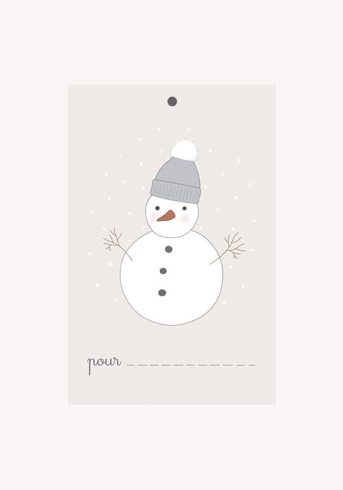 Image of Lot d'étiquette-cadeau Mon bonhomme de neige