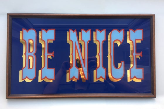 Image of 'Be Nice' Gilded Glass Sign