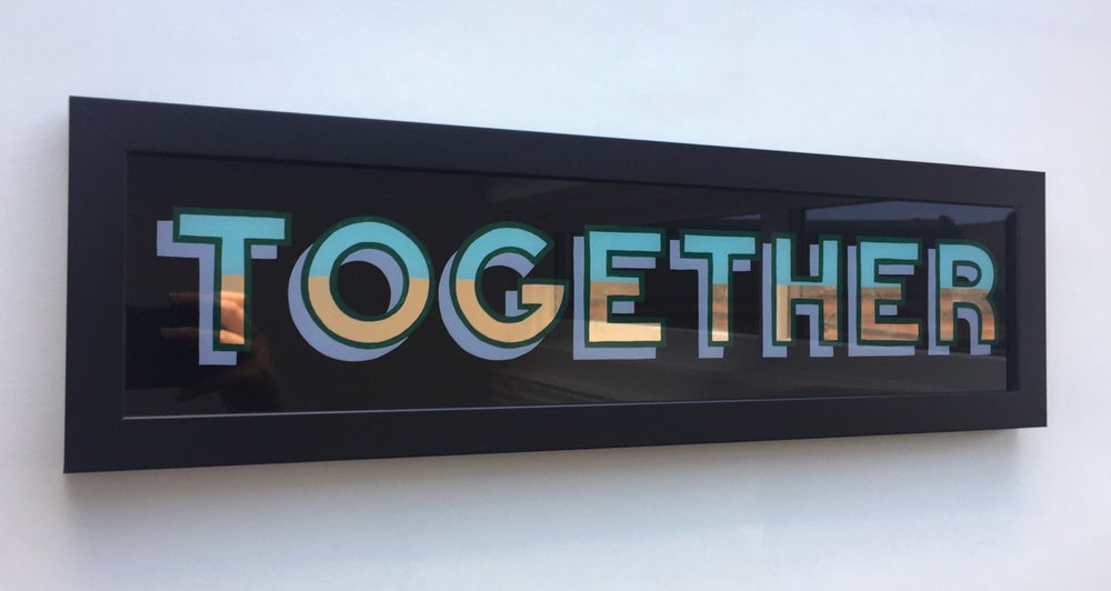 Image of 'TOGETHER' Gilded Glass Sign