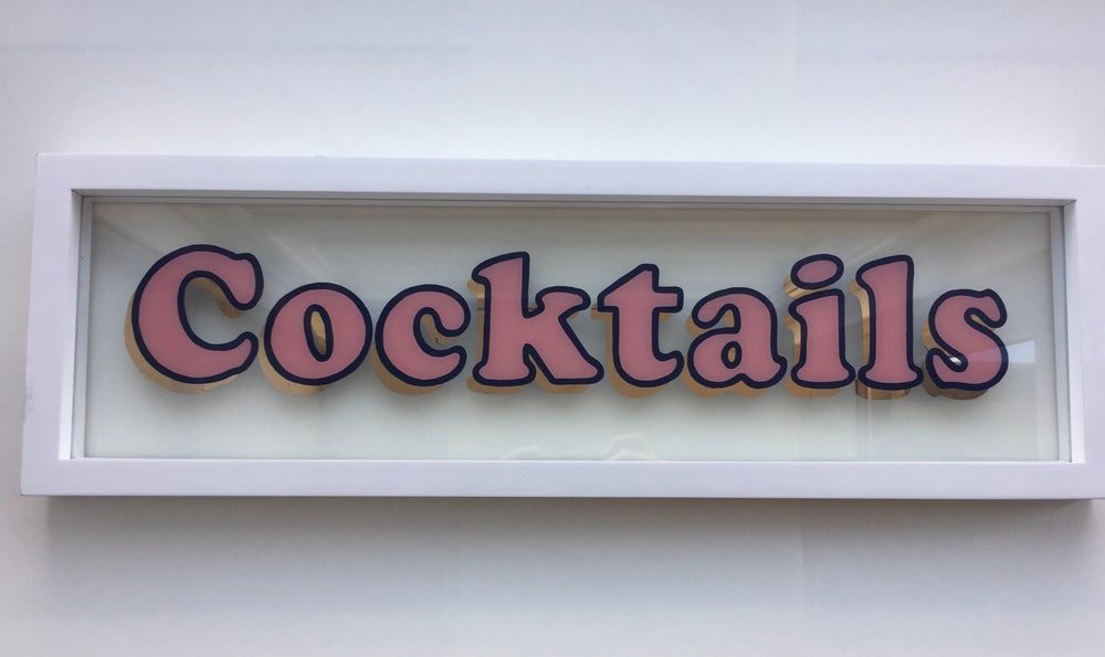 Image of 'Cocktails' Gilded Glass Sign