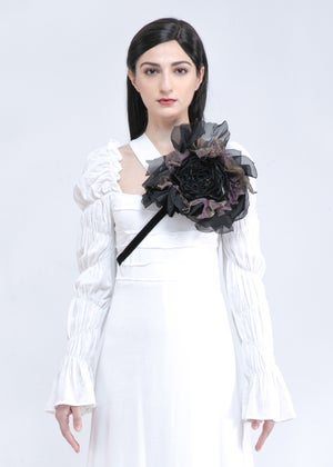 Image of  Large Handcrafted Roses Accessories In Noir