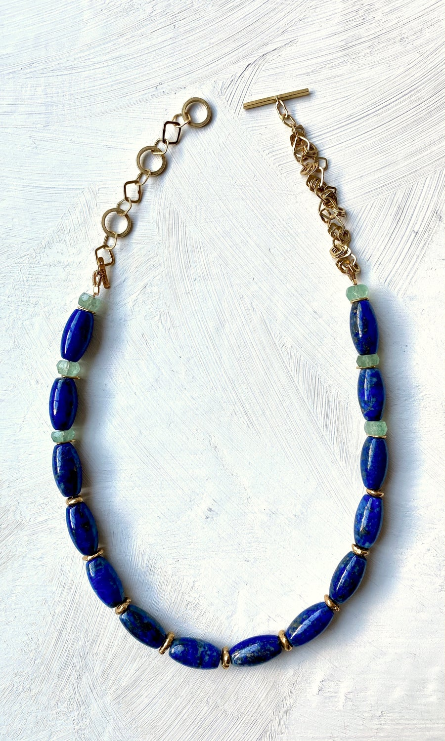 Image of Indian summer beaded necklace - Lapis Lazuli/Green Beryl