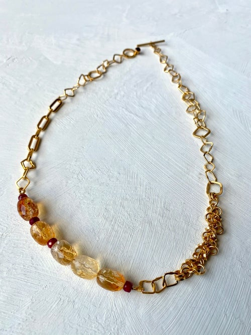 Image of Indian summer Necklace series 1- Madeira Citrine/Gold Citrine/Rubi