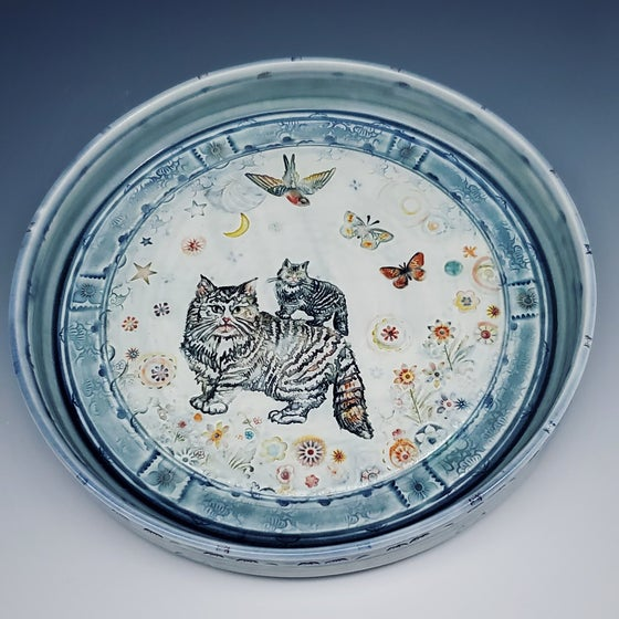 Image of Kitty Garden Handpainted Porcelain Platter