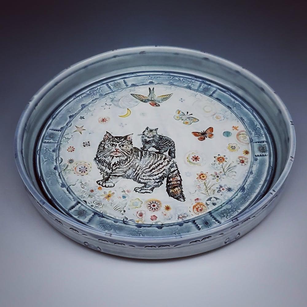 Image of Kitty Garden Handpainted Porcelain Platter