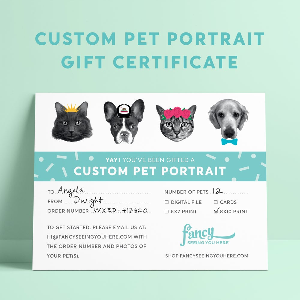 Image of Custom Portrait Gift Certificate - Pet Portrait - Custom Pet Greeting Cards - Custom Pet Art