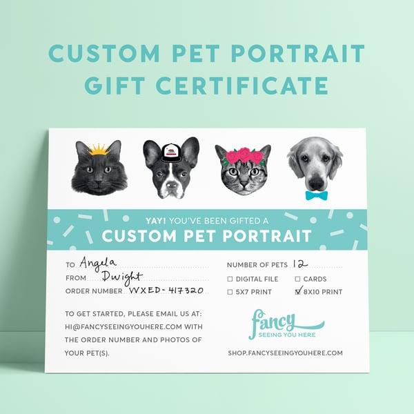 Image of Custom Portrait Gift Certificate - Pet Portrait - Custom Pet Greeting Cards - Custom Pet Art