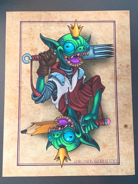Image of Creature king card print