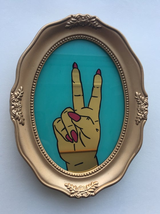 Image of Peace Sign Hand Gesture - Large Gold