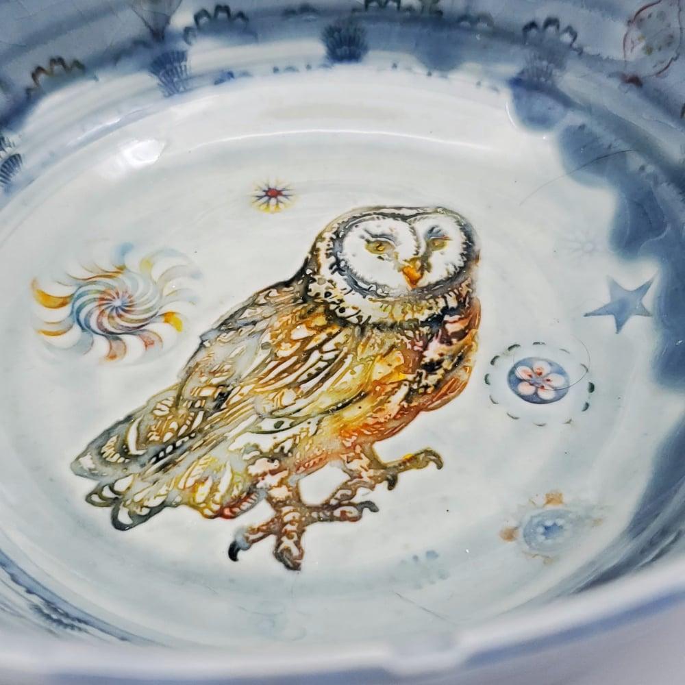 Image of Barn Owl  Porcelain Bowl