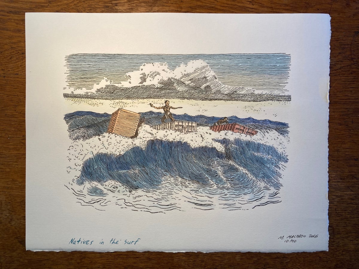 Image of Natives in the Surf (Hand tinted Letterpress Print)