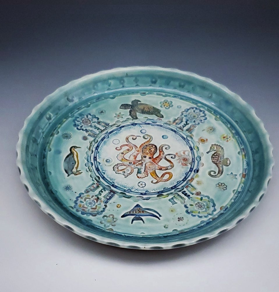 Image of Oceanic Octopus Fluted Platter