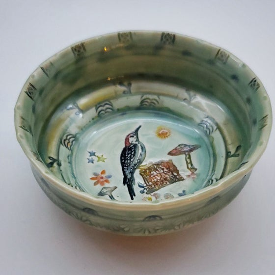 Image of Woodpecker Porcelain Dish