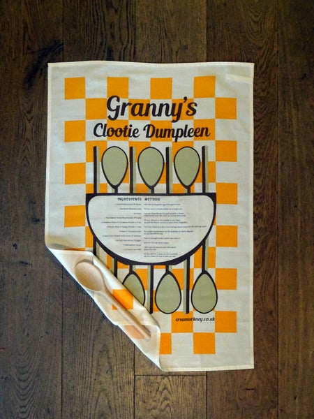 Image of Granny's Clootie Dumpleen Tea Towel and Spoon