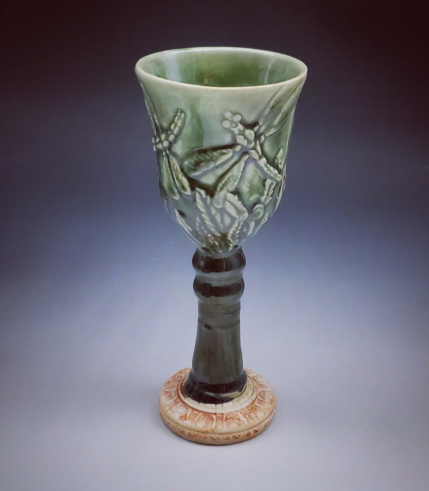 Image of Emerald Green  Dragonfly Goblet