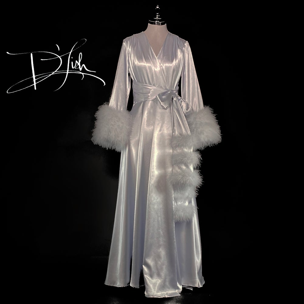 """Image of Silver Marabou-cuffed """"Beverly"""" Dressing Gown 30% OFF DISCOUNT CODE: BEVERLY30"""