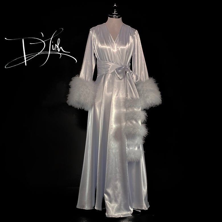 "Image of Silver Marabou-cuffed ""Beverly"" Dressing Gown 30% OFF DISCOUNT CODE: BEVERLY30"