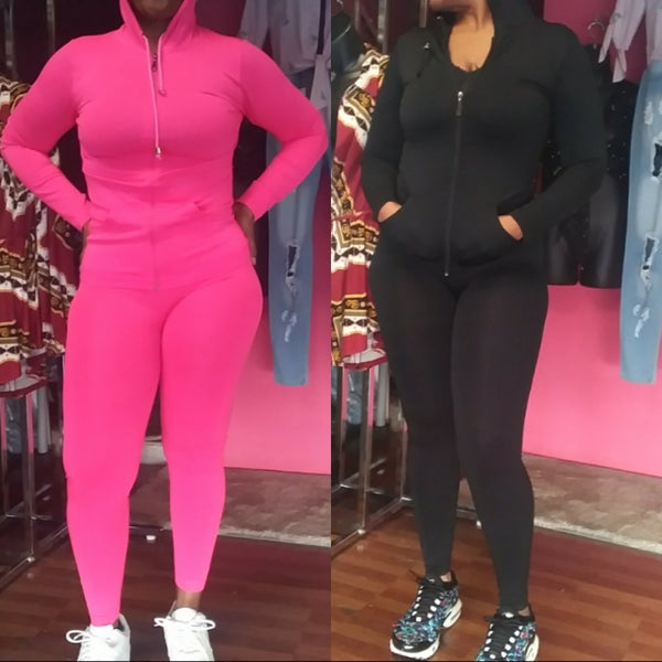 Image of ONE SIZE TWO PIECE HOODIE SET FUSCHIA OR BLACK FITS SMALL 6 up to XLARGE 14