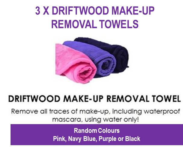 3 Pack - Driftwood Make-Up Removal Towels (Random Colours)