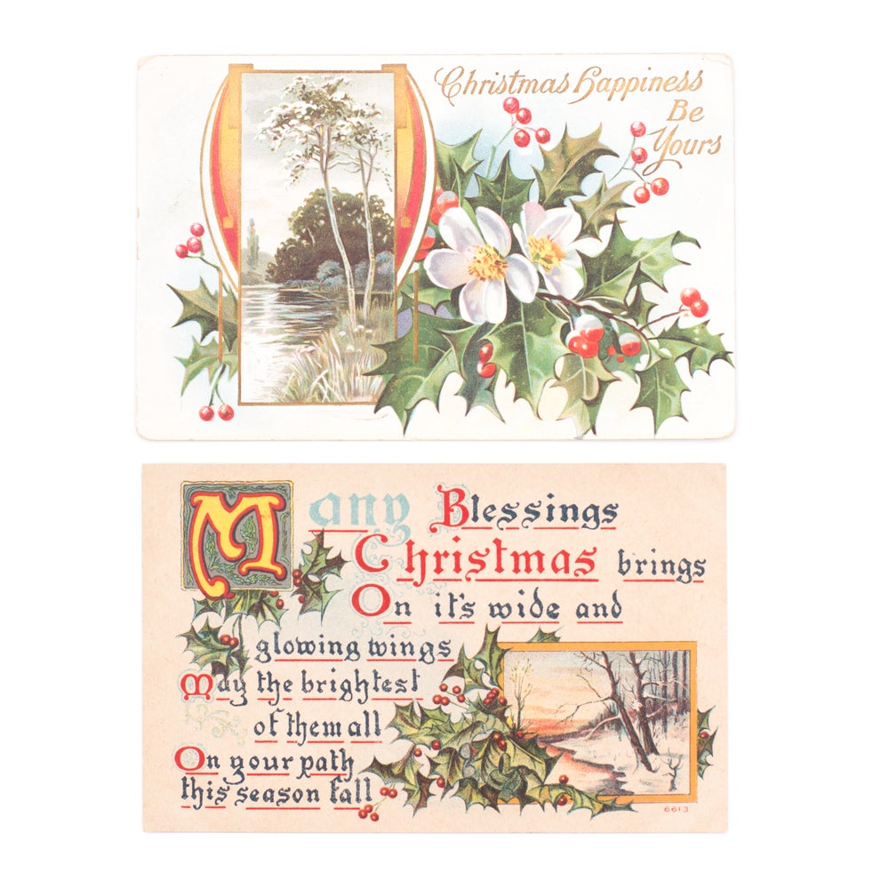 Image of Holly Christmas Postcards - Set of 2
