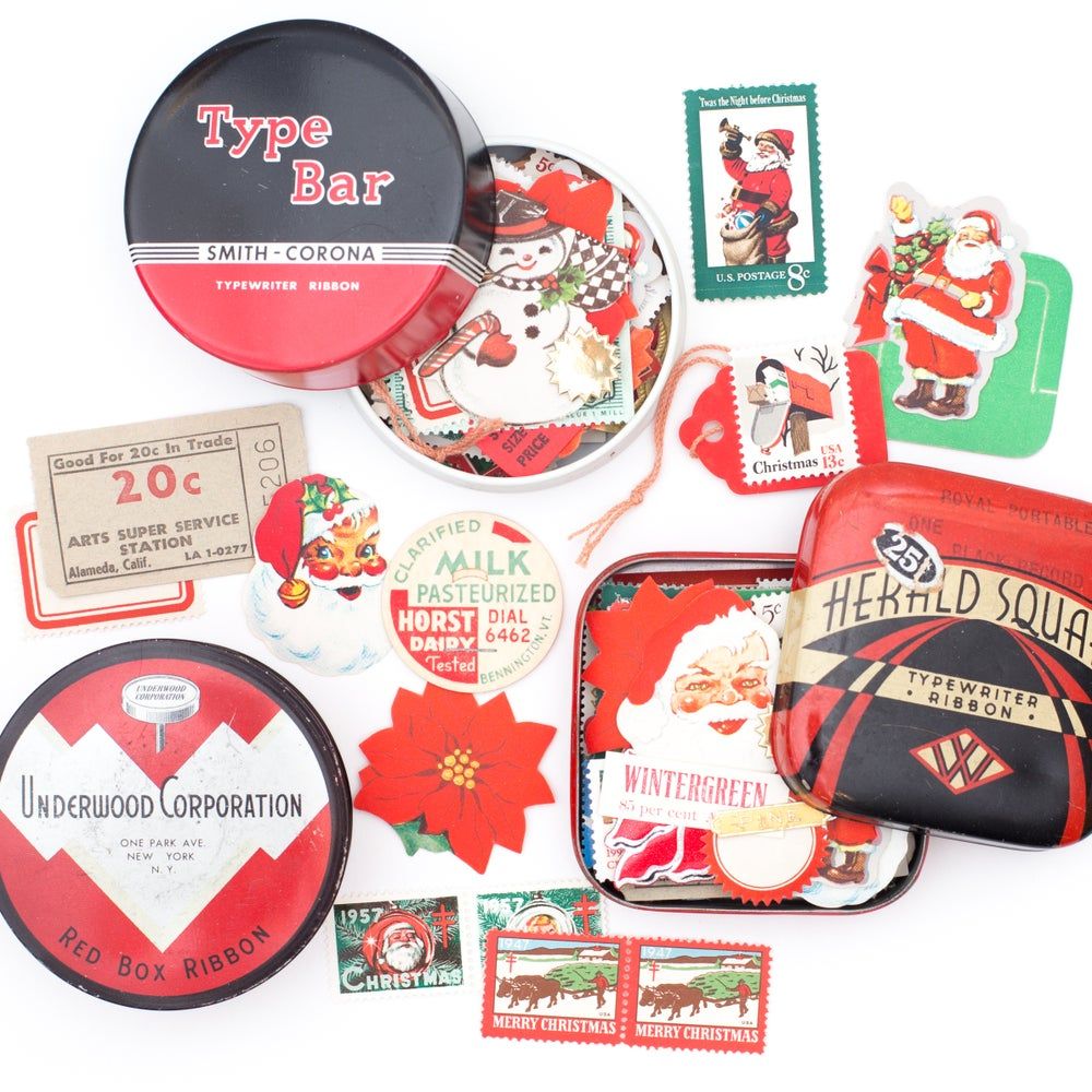 Image of Red Typewriter Tin with Christmas Ephemera