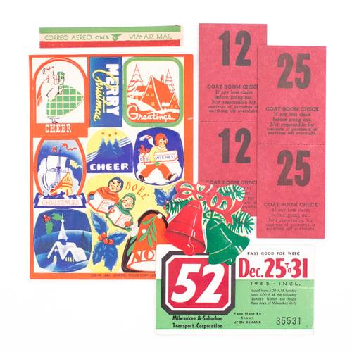Image of Dennison Jumbo Assortment Envelope with Christmas Ephemera
