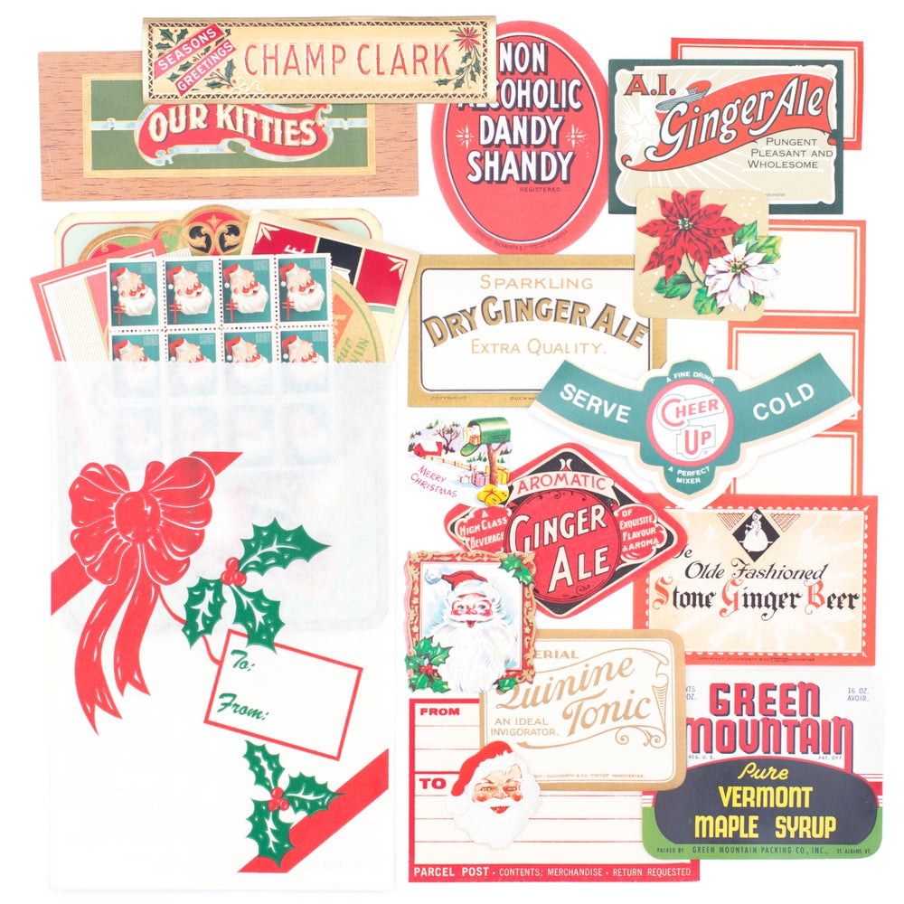 Image of Christmas Labels Set in Present Bag