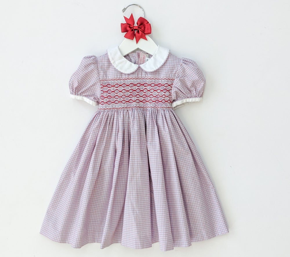 Image of Red Smocked Dress