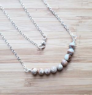 Image of gemstone ss necklace 17 - aqua terra jasper