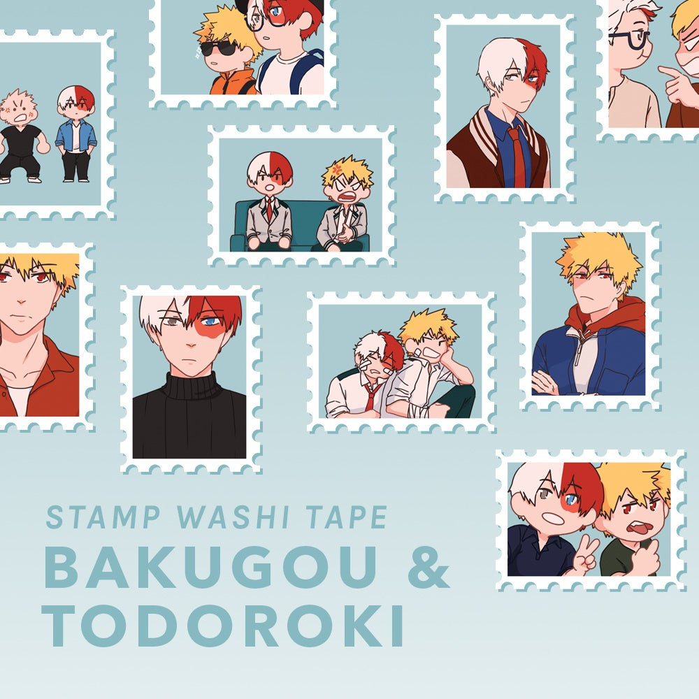 Image of Bakugou & Todoroki Stamp Washi / Sticker Sheet
