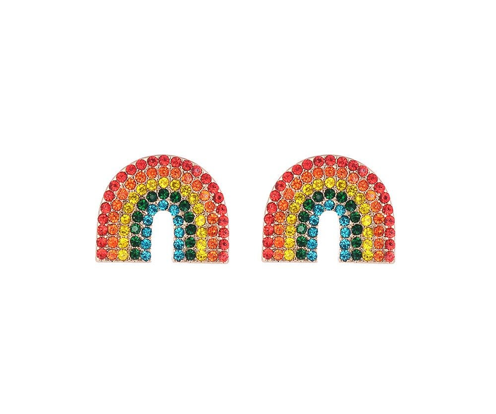 Image of Rainbow sparkle stud earrings