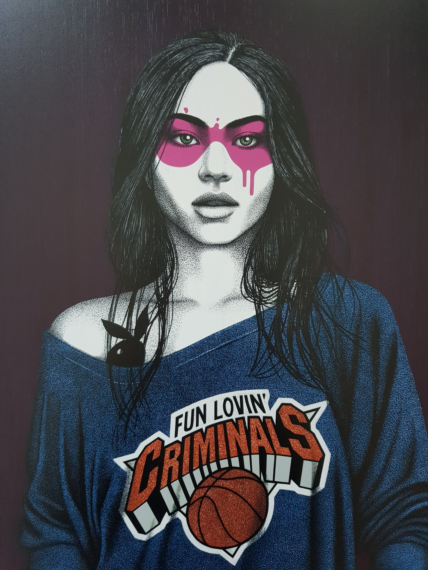 """Image of FINDAC """"CONEY ISLAND GIRL - PUCKERED UP LIPS"""" - A/P EDITION OF 5 ON BAMBOO PANEL 60CM X 40CM"""