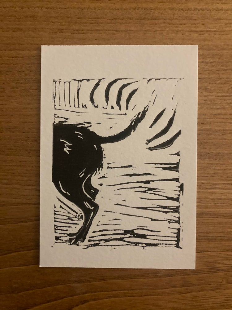 Image of Wagging Tail Mini Lino Print