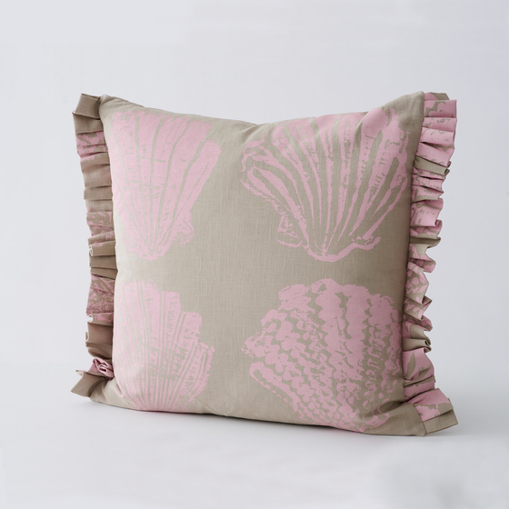 Image of Pilgrim frill cushion in 3 colour-ways by Stoff Studios