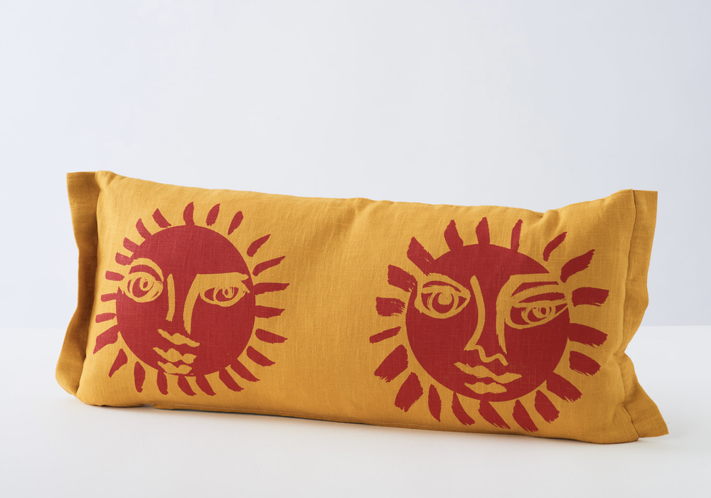 Image of Sunne cushion in 3 colour-ways from Stoff Studios