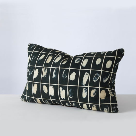 Image of Rule cushion in 2 colour-ways from Stoff Studios