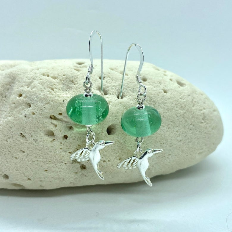 Image of Transparent Pale Mint Hummingbird Dangle Earrings