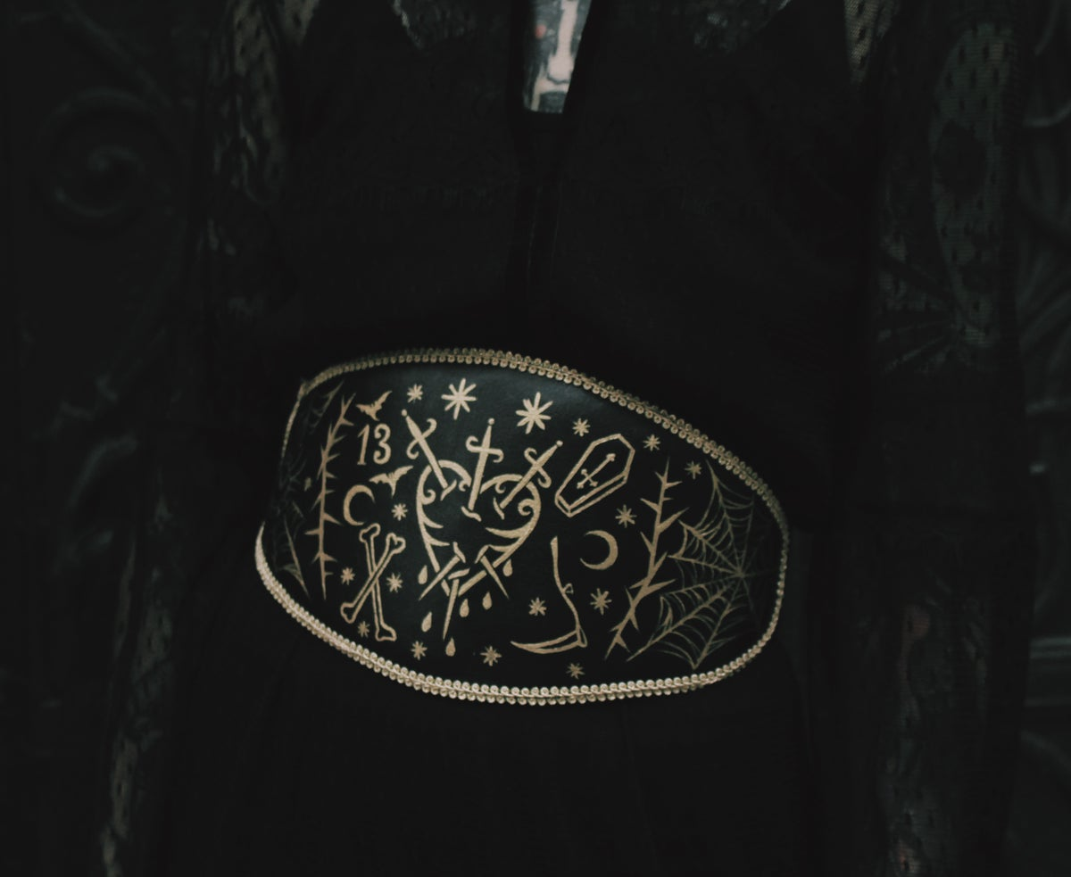 Gold brocade waist-belt hand painted by Sofa Oblina size XS-L