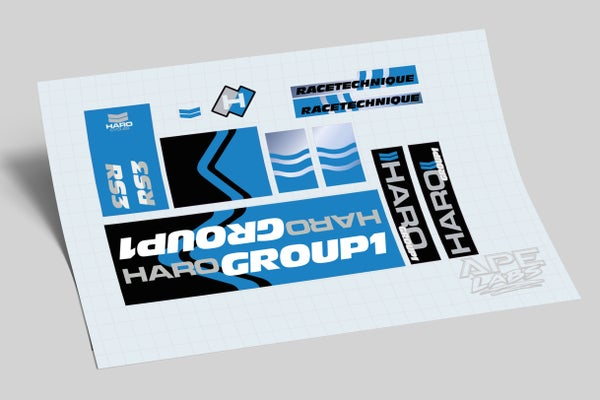 Image of Haro Group 1 RS3 1987 decal set