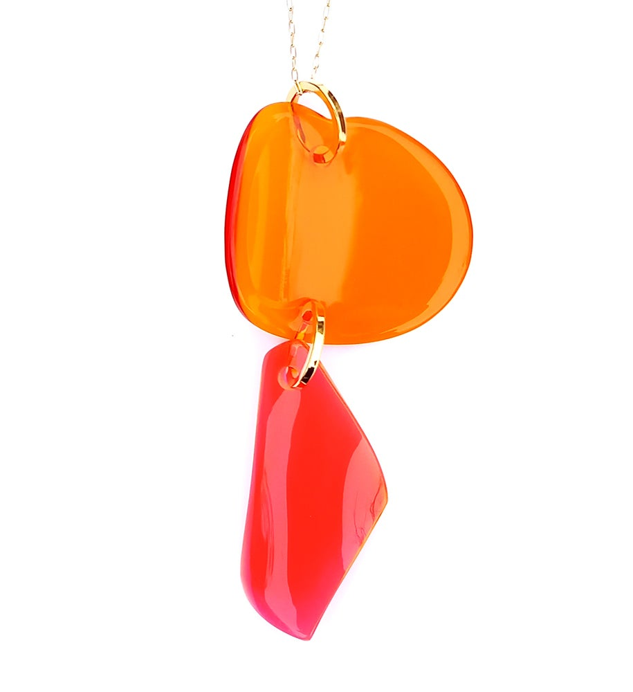 Image of SEA TREASURES PENDANT _ ORANGE & NEON RED