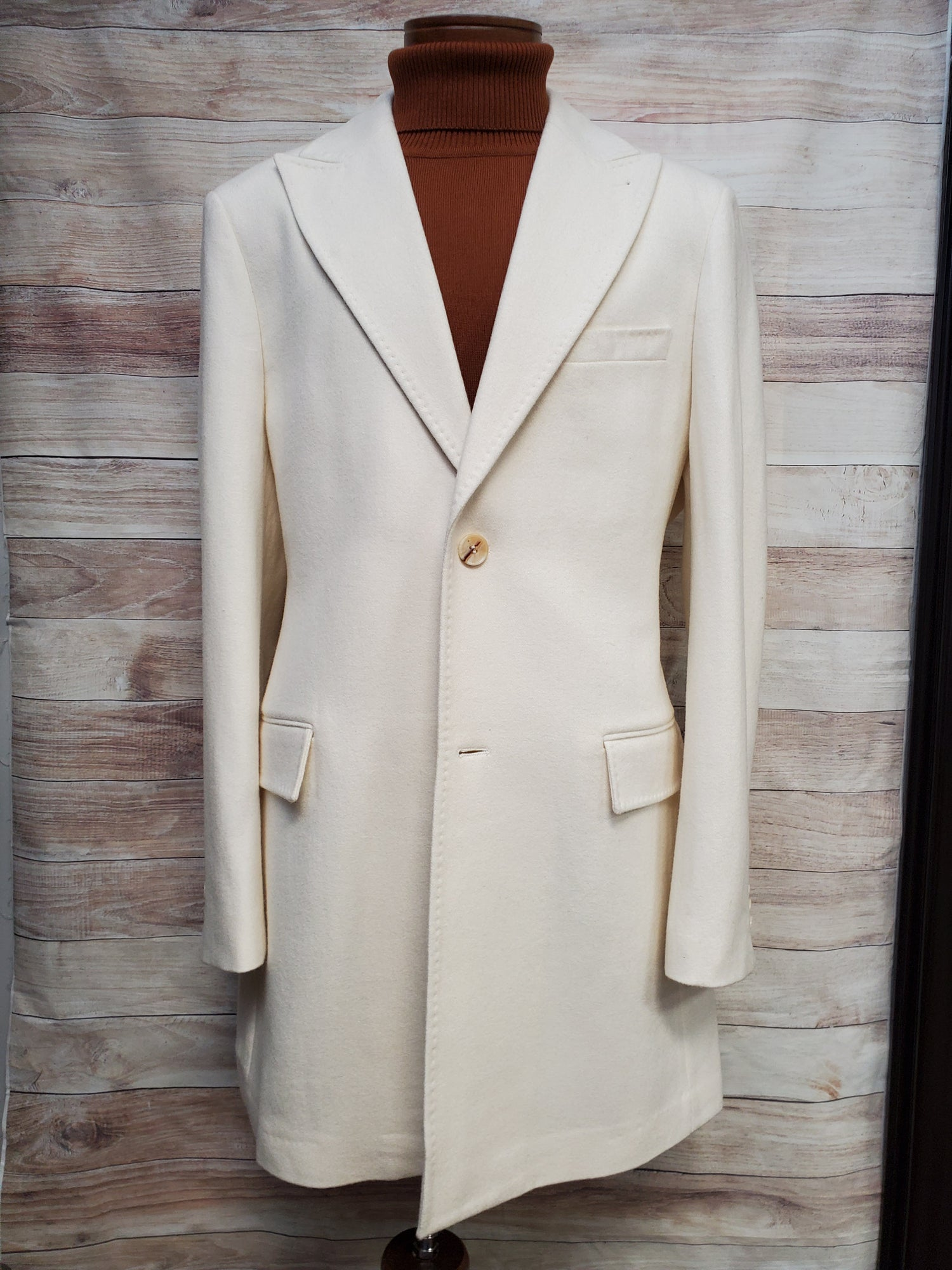 Image of CIGAR COUTURE KNEE LENGTH TOP COAT STYLE TC-930 - WINTER WHITE