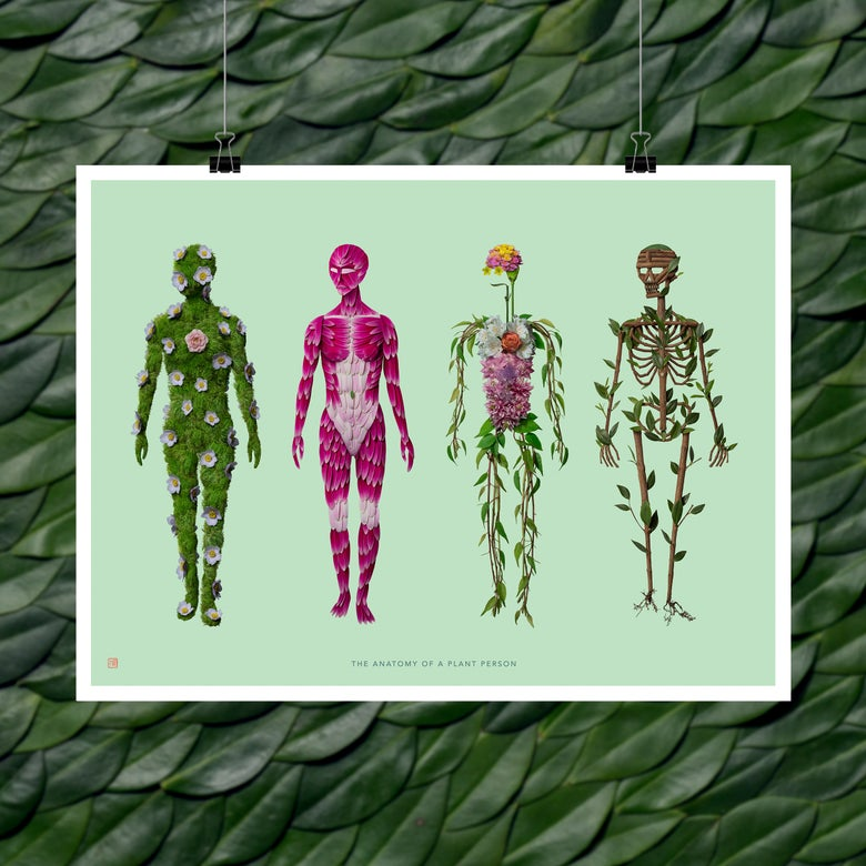 Image of Fine Art Print - The Anatomy of a Plant Person (Female Version)